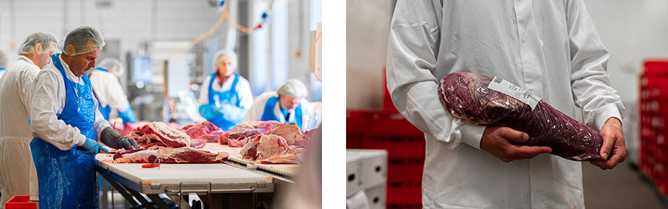 Beef processing, vacuum beef component